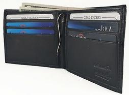 MENS Black Leather Bifold Minimalist Wallet With Spring Mone