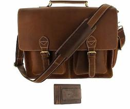 "Viosi 16"" Genuine Leather Laptop Briefcase Messenger Bag Fro"