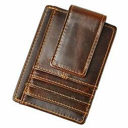 Genuine Leather Magnet Money Clip Credit Card Case Holder Sl