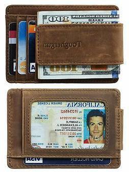 genuine leather magnetic front pocket money clip