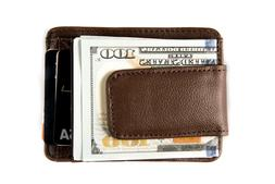Roma Leather Magnetic Front Pocket Money Clip Wallet - 2 Col