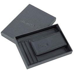 genuine leather magnetic front pocket money clip