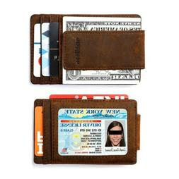 Amelleon Genuine Leather Magnetic Front Pocket Money Clip Wa