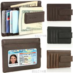 Genuine leather Money Clip ID Credit Card Case Holder Slim W