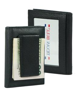 Mens Genuine Leather Money Clip Wallet Magnetic Black ID Cre