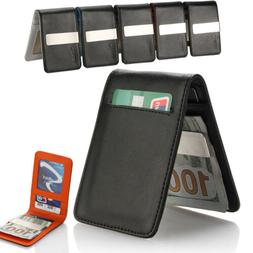 Genuine Leather Silver Mens Money Clip Slim Wallets Black ID