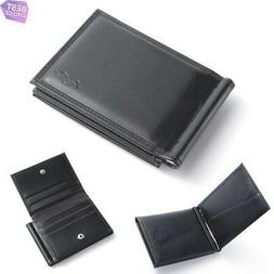 Genuine Leather Wallet Stylish Thin Money Clip with Multiple