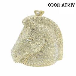 Glitter Diamond Gold Silver Horse Head Minaudiere Clutch Bla