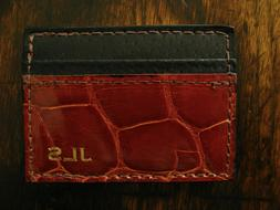 Glossy Cognac Genuine American Alligator Money Clip Wallet M