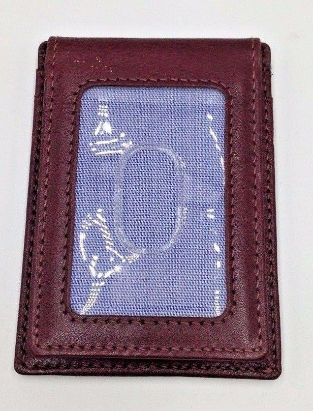 $102 TOMMY HILFIGER Men BROWN LEATHER VALET MONEY CLIP CARD