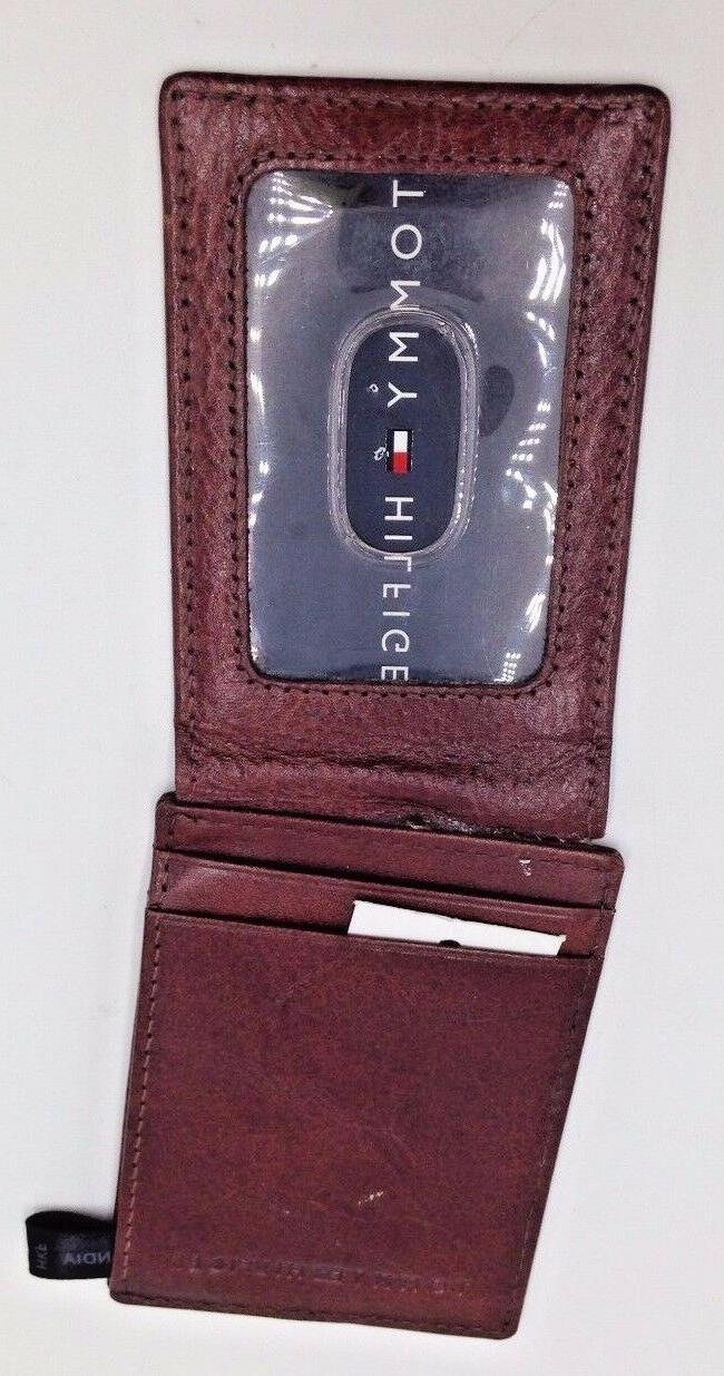 $103 Men BROWN LEATHER CLIP ID WALLET