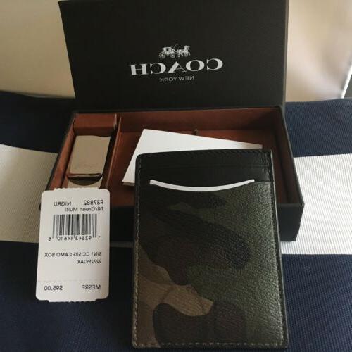 Coach In Signature Money And Card Case Set Box Camo