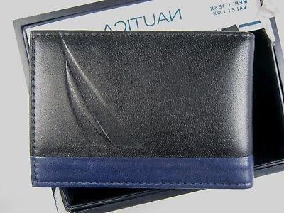 $40 Nautica Leather Magnetic Money Clip Front Pocket Wallet