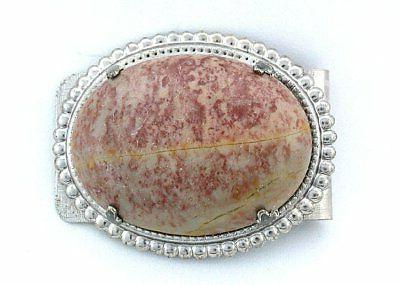 40x30 Oval Fossil Agate Cabochon Cab Gem Stone Silver Color