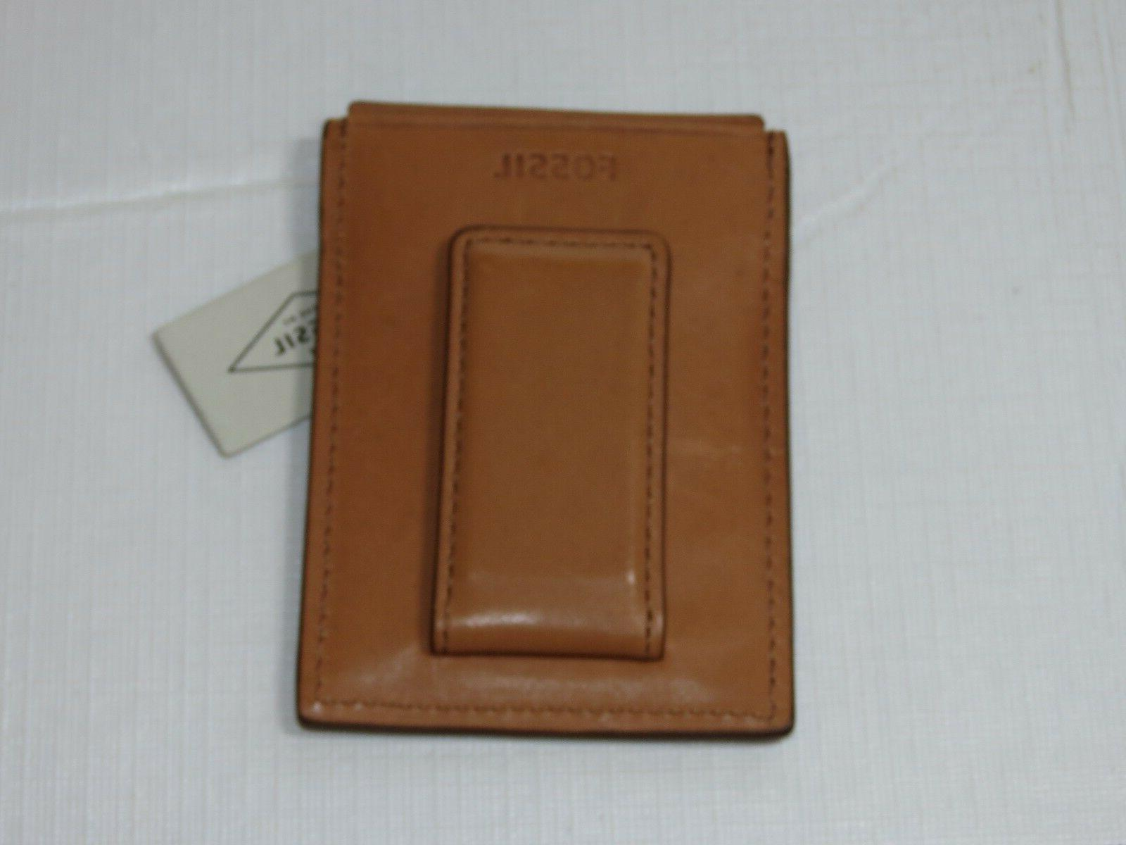 Fossil FORD Saddle Brown Magnetic Card Case RFID Wallet ML38