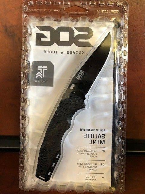 "NEW SOG FF1101-CP Salute Mini Black 3.1"" Clip Blade/G10 Hand"