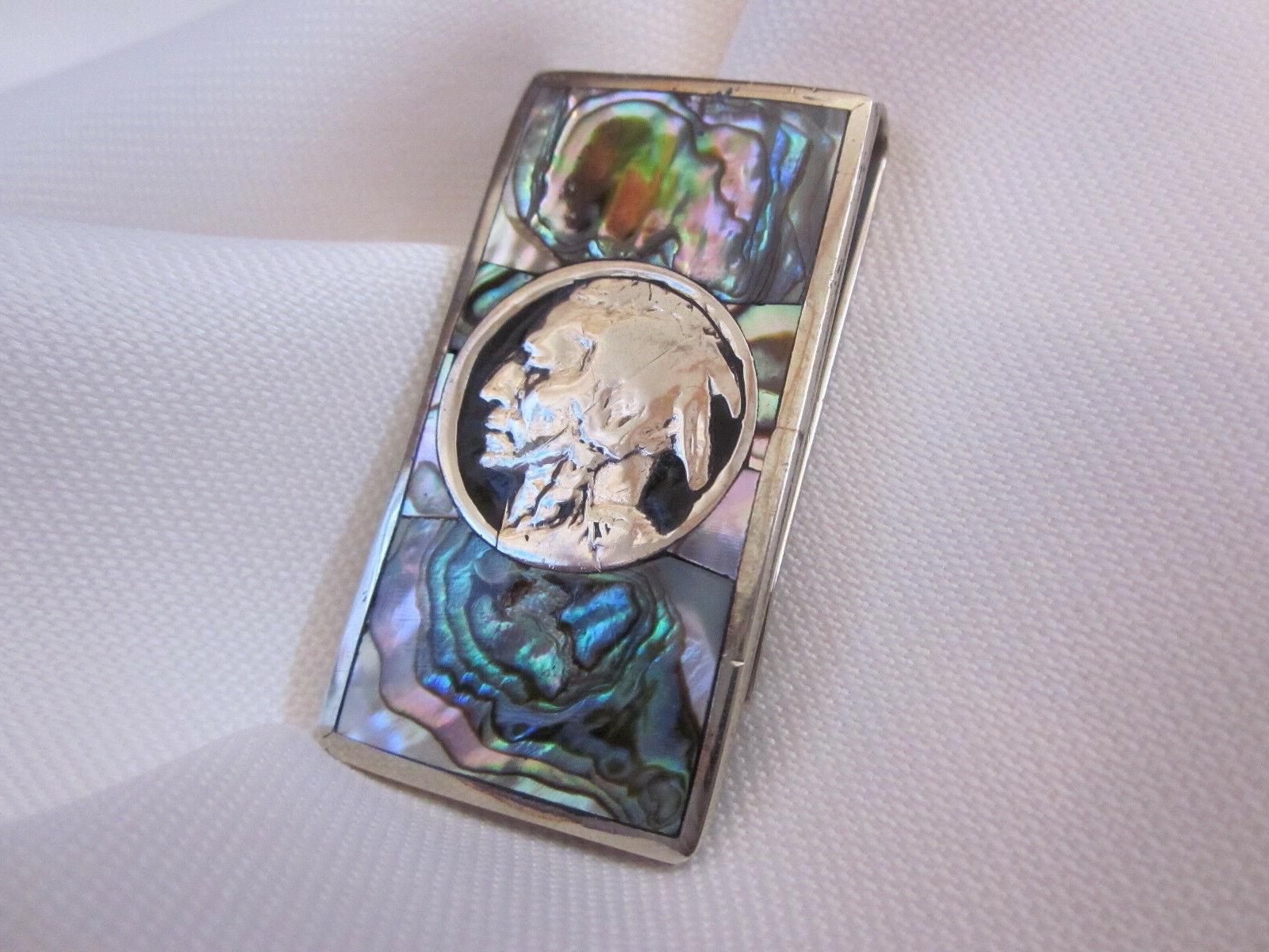 Abalone Inlaid Silver Indian Head Money Clip. +2 .999 Bars