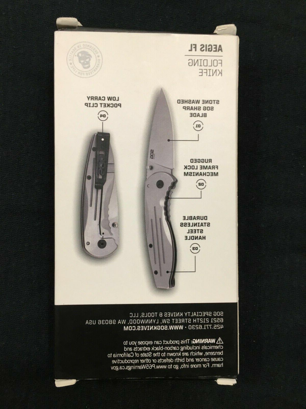 """SOG Folding Knife 3.38"""" Point Stonewashed"""