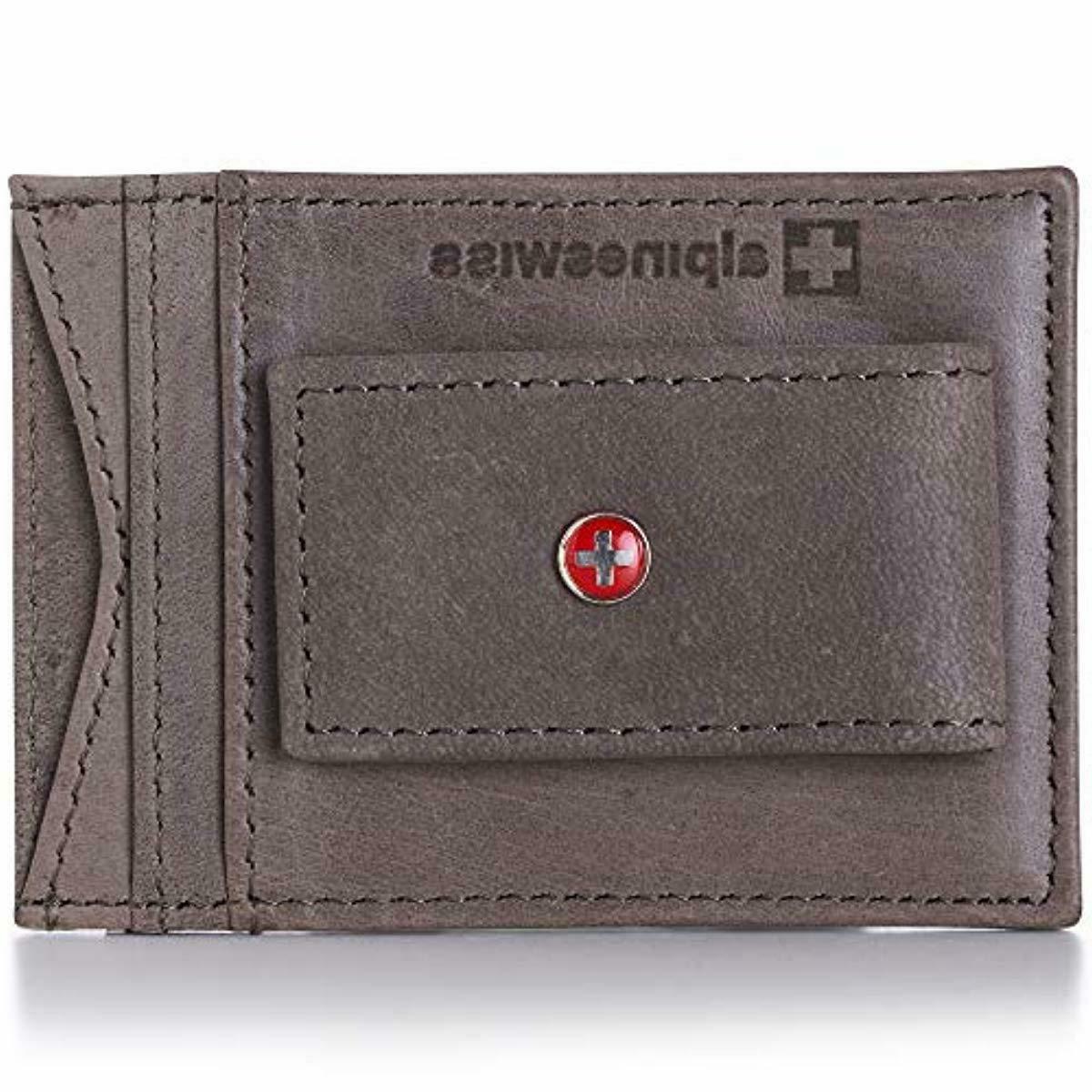 Alpine Mens Leather Money Slim Wallet