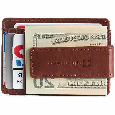 AlpineSwiss Clip Pocket Wallet Slim Case