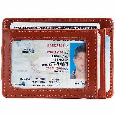 AlpineSwiss Mens Leather Clip Magnet Pocket Wallet Slim Case
