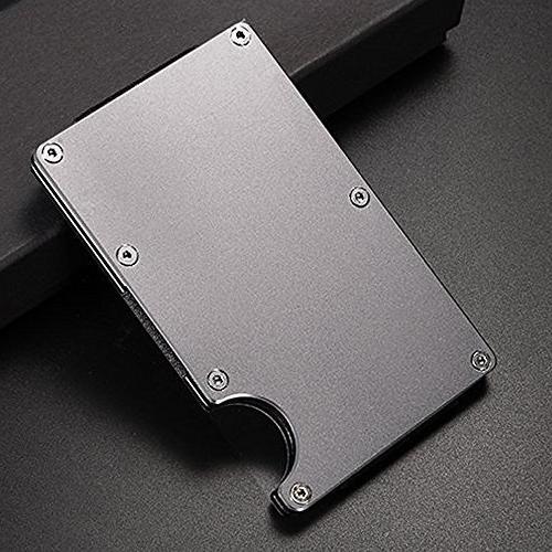 Aluminum Slim Pocket Wallet Minimalist RFID With Money Clip GRAY