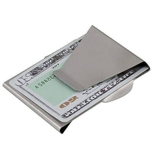 APG New Stainless Slim Clip Double Wallet and Credit Holder