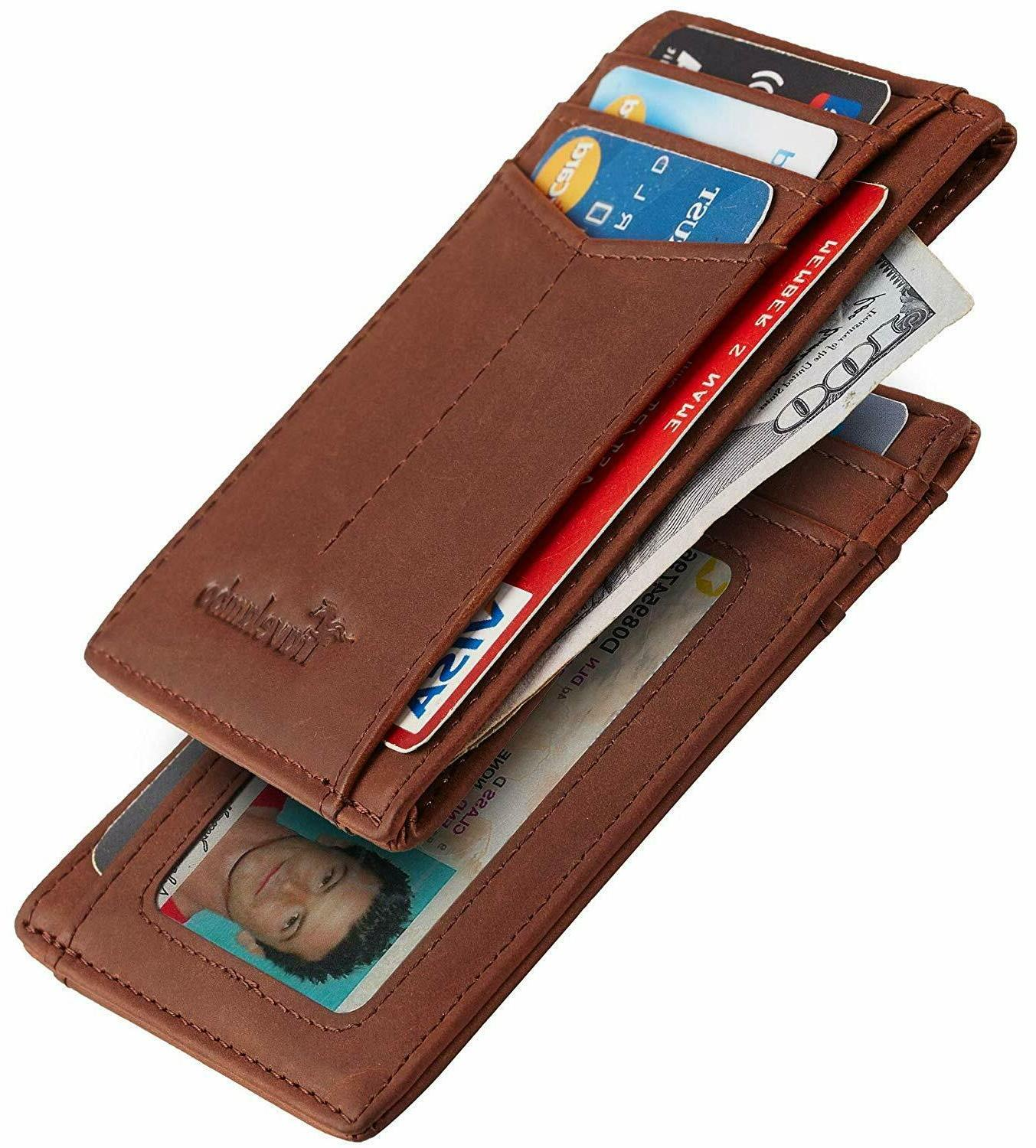Best Front Pocket Minimalist Wallet Leather Small Size all