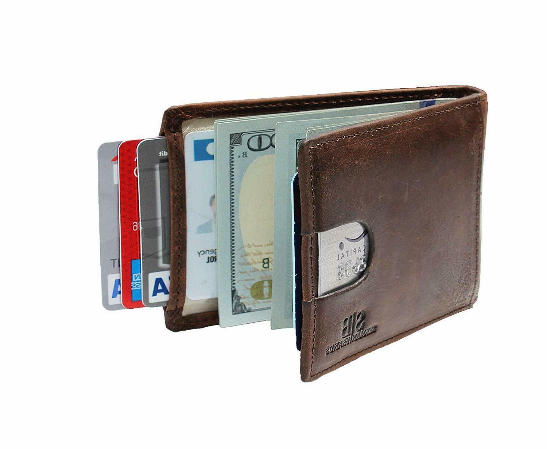 bifold genuine leather front pocket wallets