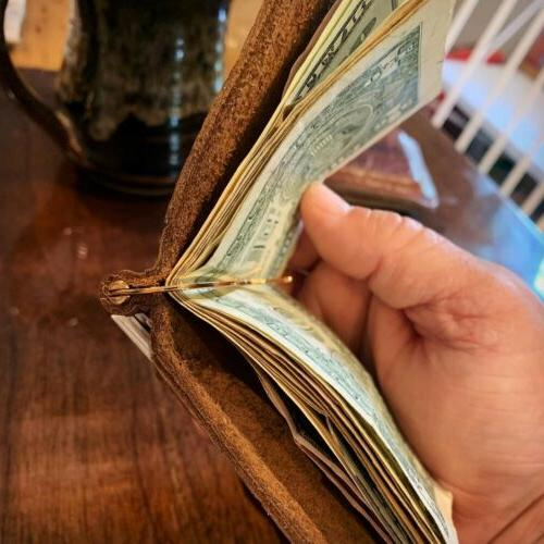 Bison Leather Money Clip - Bifold Wallet - Made