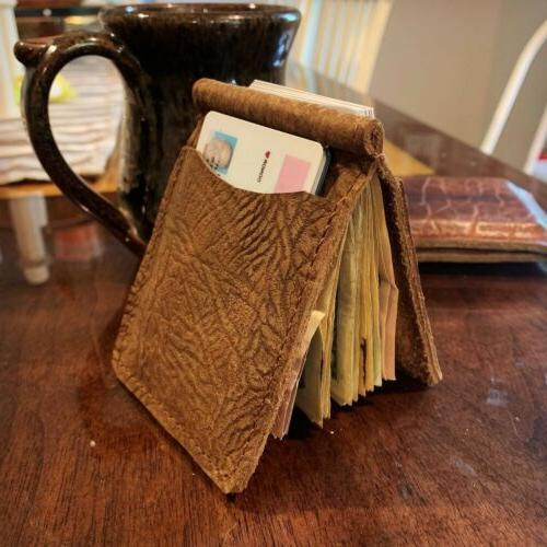 Bison Leather Money Clip - Handmade Bifold Wallet - In USA