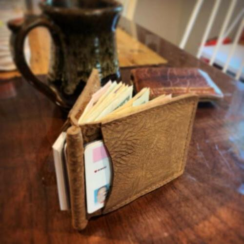 bison leather money clip bifold wallet made