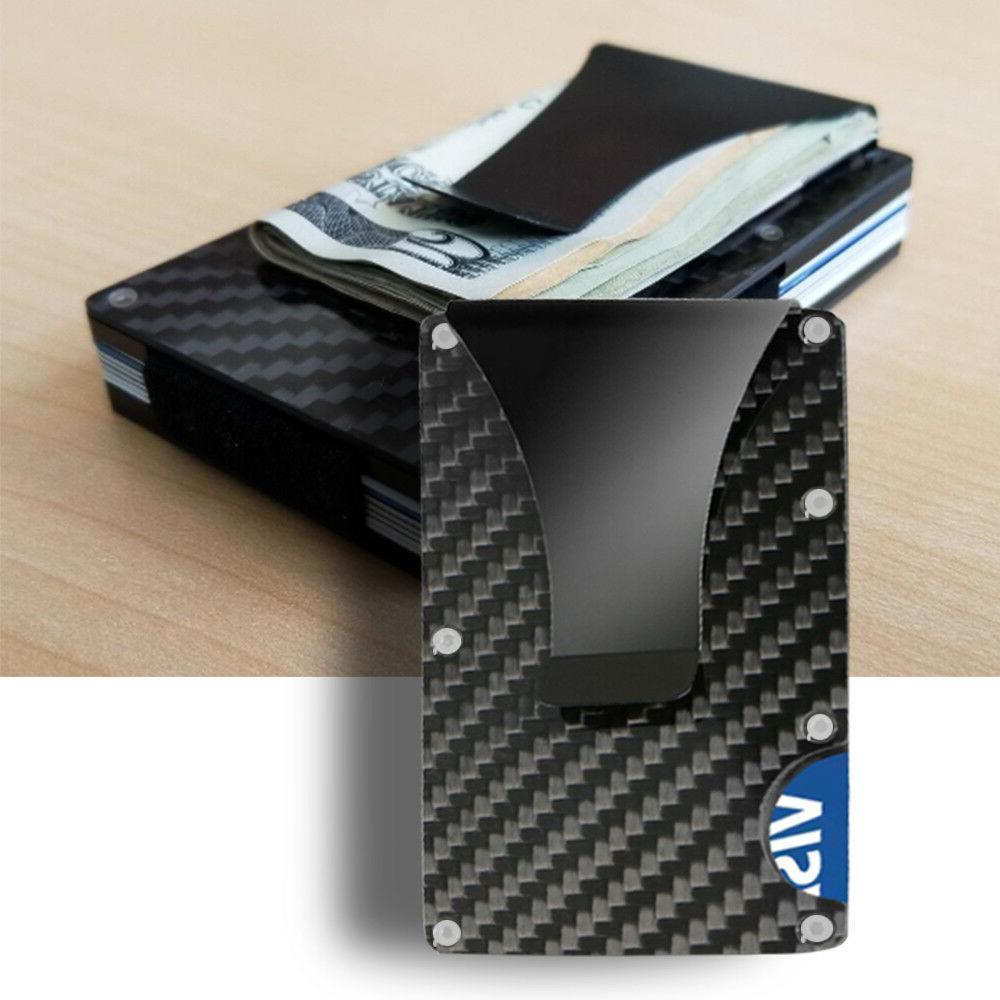 Slim Carbon Fiber Card RFID Blocking Metal Money Wallet