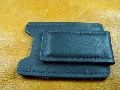 Black Cowhide Leather Money Clip Card Case hand crafted in U