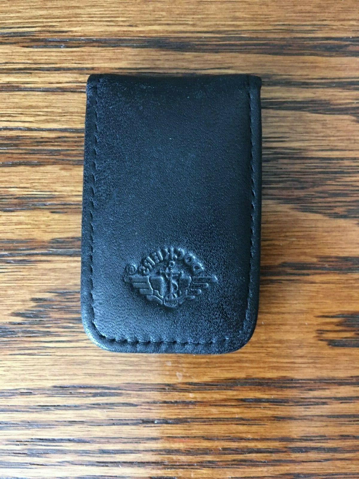 black full grain cowhide magnetic money clip