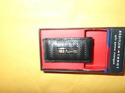 black herringbone leather money clip