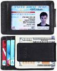 Black Leather Money Clip Pocket Wallet With 4 Strong Magnets