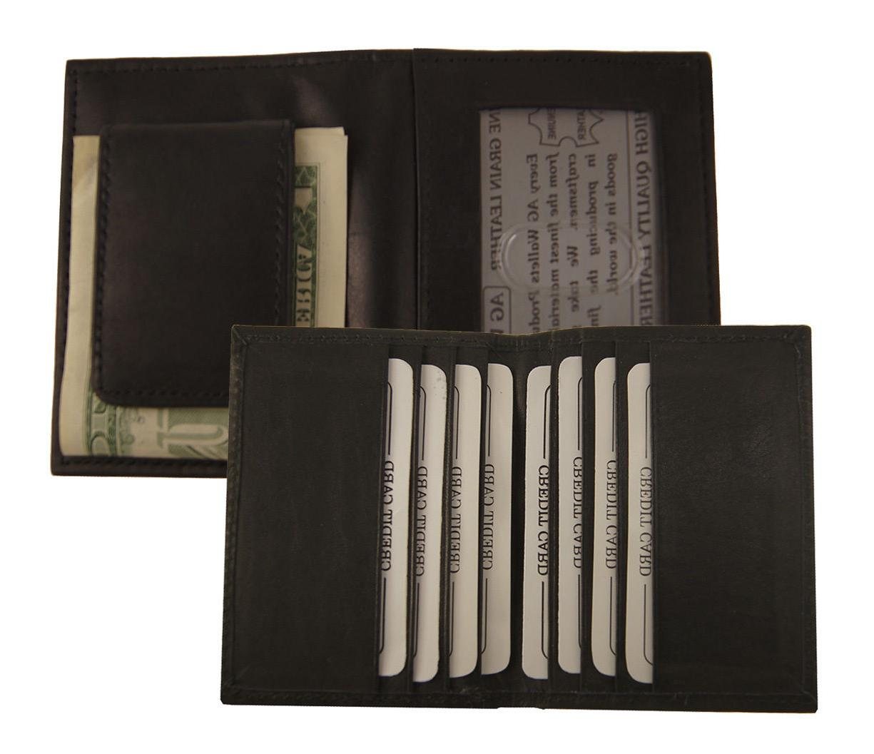 AG Wallets BLACK MAGNET MONEY CLIP Bifold FRONT POCKET Outsi
