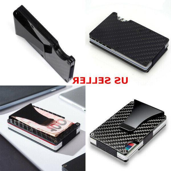 black wallet carbon fiber money clip minimalist