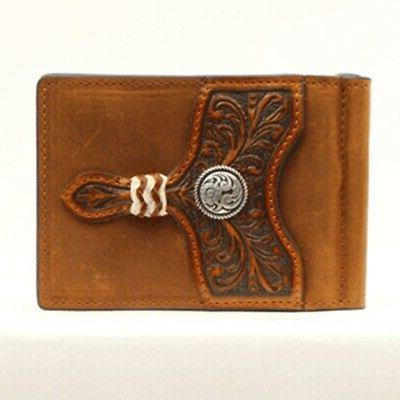 brown embossed concho card case money clip