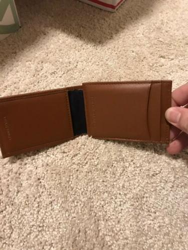 Tommy Hilfiger Brown Leather Money Clip New