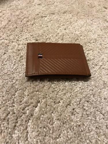 brown leather money clip wallet new