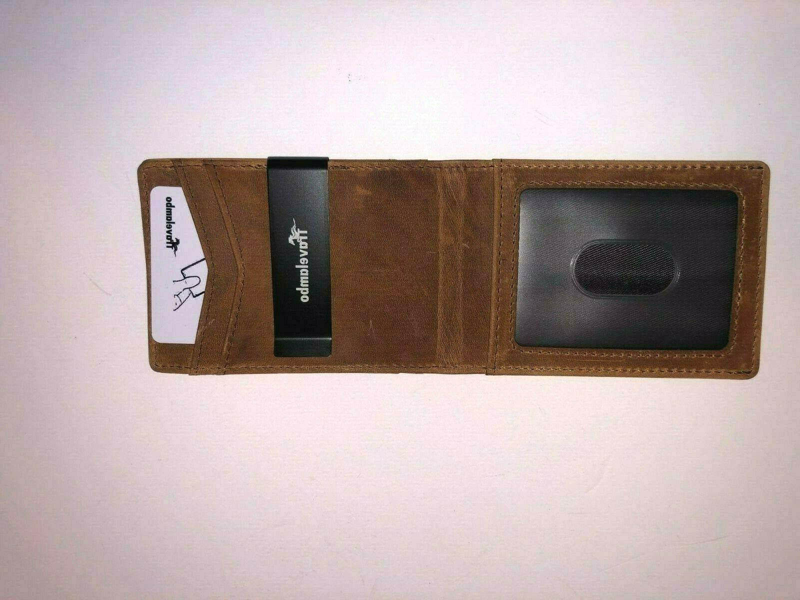 brown leather slim mens wallet with money