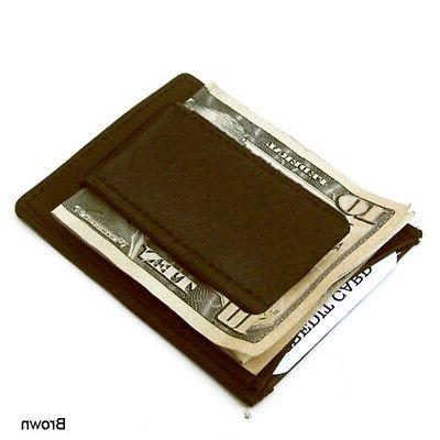Brown Strong Magnetic Money Pocket Slim Wallet