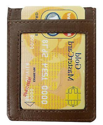 Brown Money Clip Pocket Slim Wallet