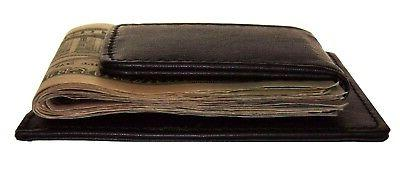 brown leather strong magnetic money clip men