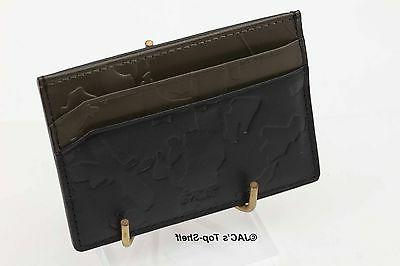Tumi Camo-embossed Leather Money Clip Card - Black/Green 14455D