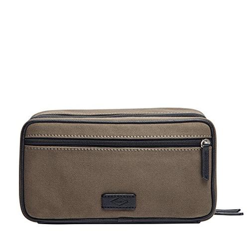 Fossil Canvas Double Zip Travel Toiletry Shave Kit