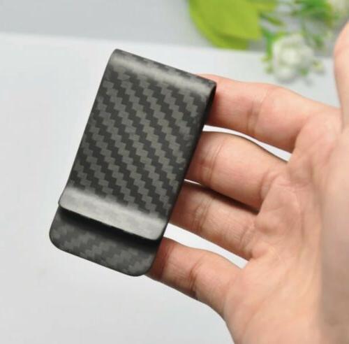 Carbon Fiber Money Clip Wallet Credit Card Cash Holder Black
