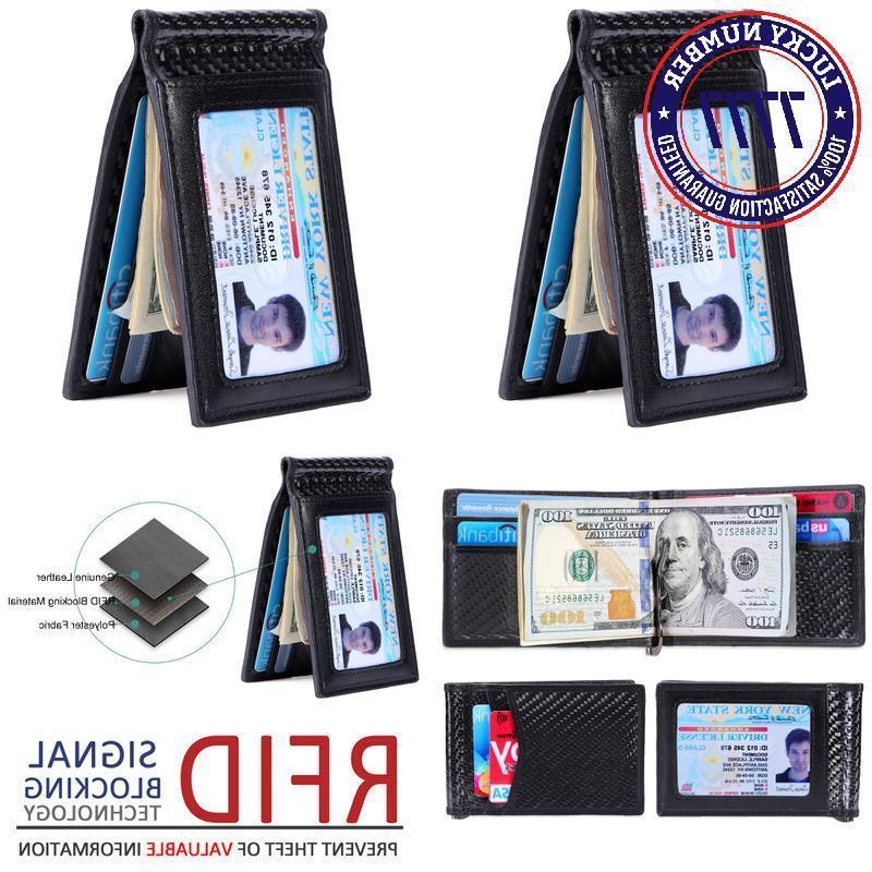 Kinzd Carbon Fiber Wallet - Mens Slim Front Pocket Wallet Ge